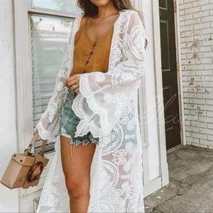 White Boho Scalloped Embroider Malie Kimono Duster